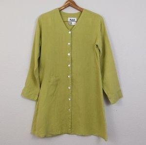 Flax button down long sleeve tunic green dress P